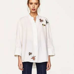 Zara Sequin and Beaded Bug Poplin Shirt